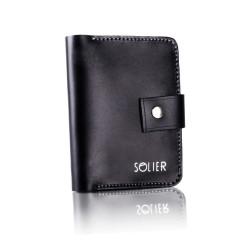 Cienki skórzany męski portfel SOLIER SW17 Czarny Vintage