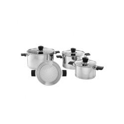 Komplet garnków Inox 7-elementowy z wkładem do gotowania na parze