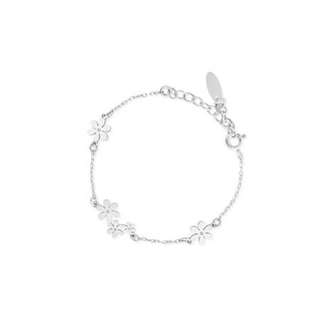 Bransoleta srebrna z motywem kwiatów SMN/AS088