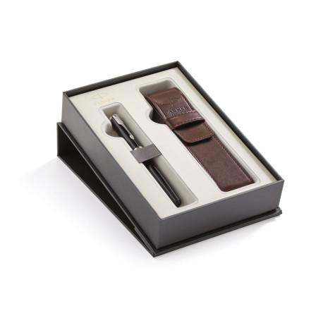 Parker Sonnet Black CT Fountain Pen + PU Pen Pouch Set