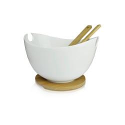 Misa do sałaty biała 28 cm ze sztućcami DUKA BAMBOO