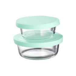 Komplet 2 pojemników okrągłych szklanych z silikonowymi pokrywkami 300 ml +600 ml