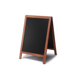 Potykacz kredowy MEMOBE czarny, rama drewniana lakierowana brązowa 50x70
