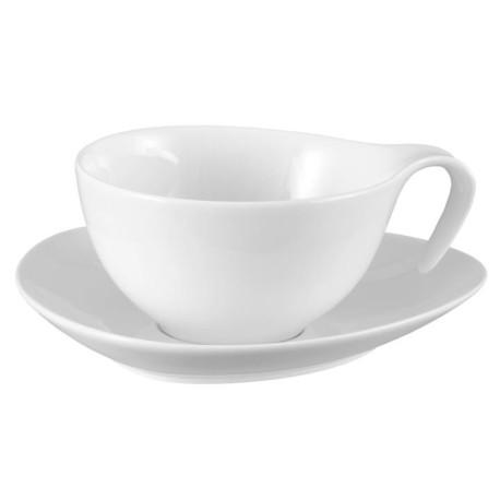 Filiżanka ze spodkiem DUKA TIME 350 ml biała porcelana