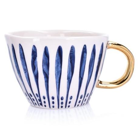 DUKA SIREN Kubek 300ML pionowe paski niebieski, biały