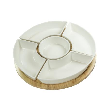 Zestaw miseczek z obrotową tacą DUKA WAREWOOD 5 sztuk biały porcelana