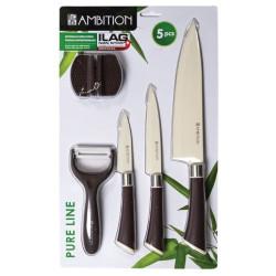 Komplet noży z ostrzałką i obieraczką, 5 elementów - PURE LINE Ambition